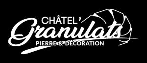 Logo blanc chatel'granulats pierre et décoration Châtellerault vienne